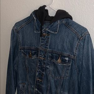 Hollister jean jacket with hood